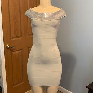 Guess Sequin Trim Bondage Mini Dress